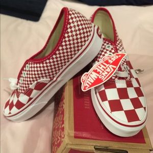 NWT Vans red checkered
